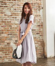裾刺繍ゆるワンピース