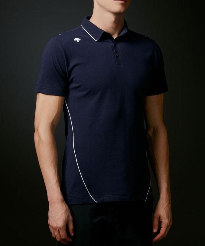 オーガニックアイスコットン100%鹿の子パイピングシャツ【ECO】【UV】