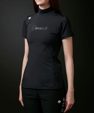 【LUXE】フレックスムーブスムースクリスタルロゴモックネックシャツ【ECO】【UV】