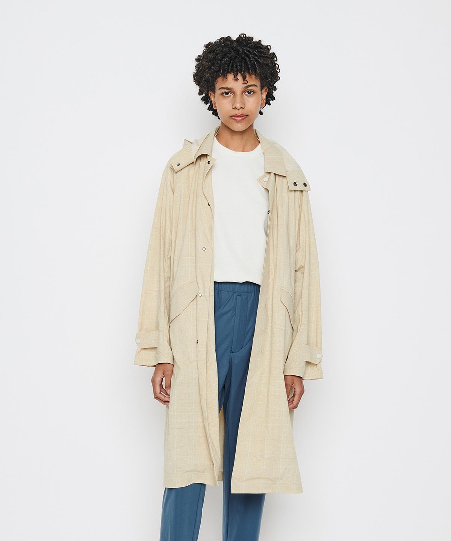 【ユニセックス】グレンチェックフーディッドジャケット / GLEN CHECK HOODED COAT(PAUSE)