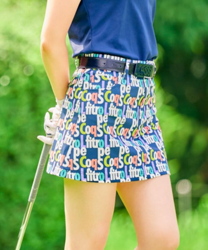 【ALLIEコラボ】キープクリーンタイポ柄スカート《吸汗速乾・UPF50・ストレッチ》