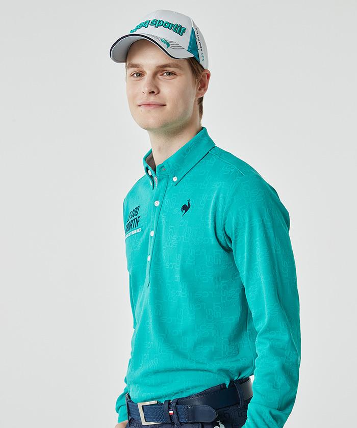 ロゴ地柄ジャガード長袖シャツ《吸汗速乾・UV(UPF15)》