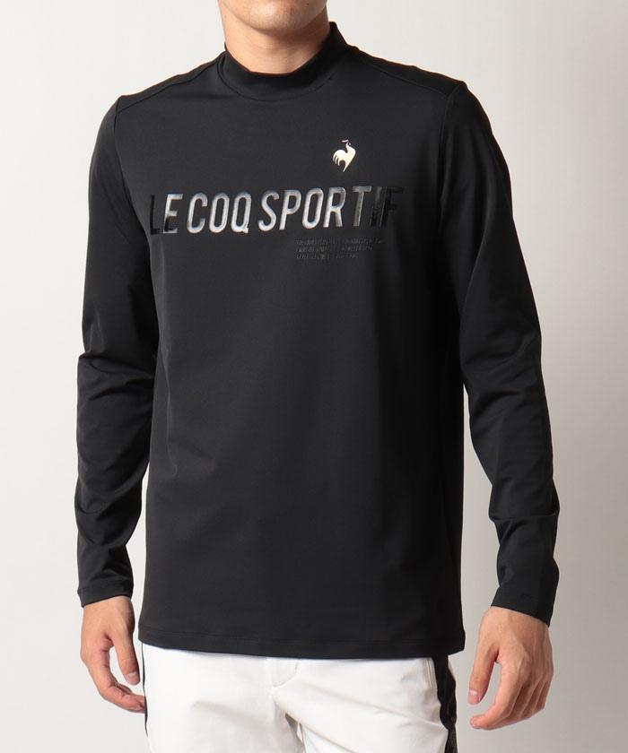 【RIJOUME】フロントロゴデザインモックネック長袖シャツ《吸汗速乾・UV(UPF15)・ストレッチ》