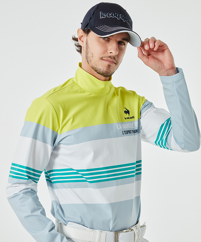 ゴルファーズアドレスカッティング長袖ハイネックシャツ《吸汗速乾・UV(UPF15)・ストレッチ》