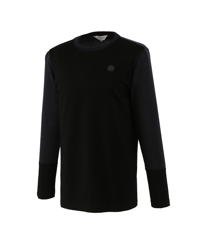 異素材コンビクルーネックシャツ