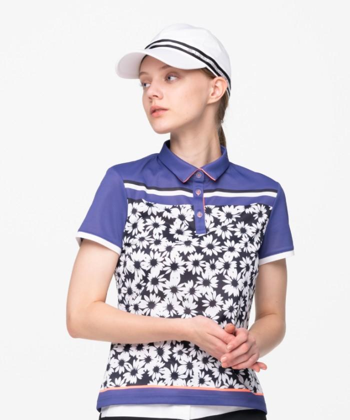 【ECO】【サンスクリーン】半袖フラワープリントポロシャツ