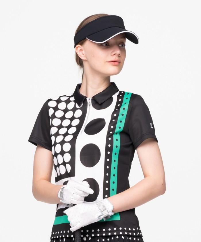 【ECO】【サンスクリーン】ドットプリント半袖ポロシャツ