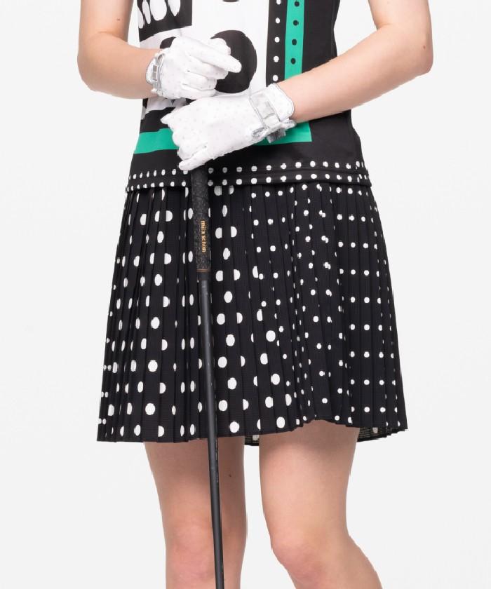 【ECO】【ドットエアー】ドットプリントプリーツスカート