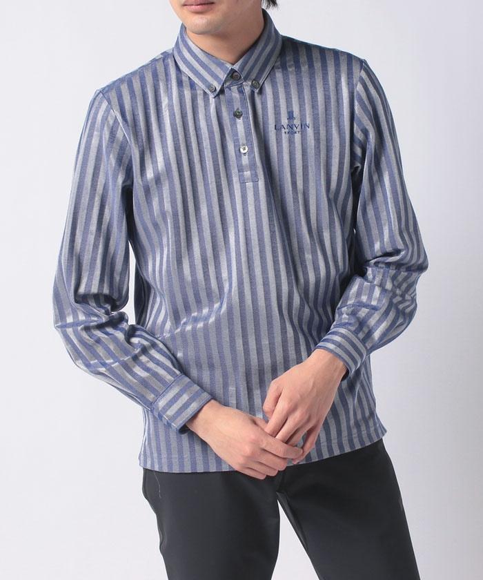 ストライプ柄ジャガード長袖シャツ