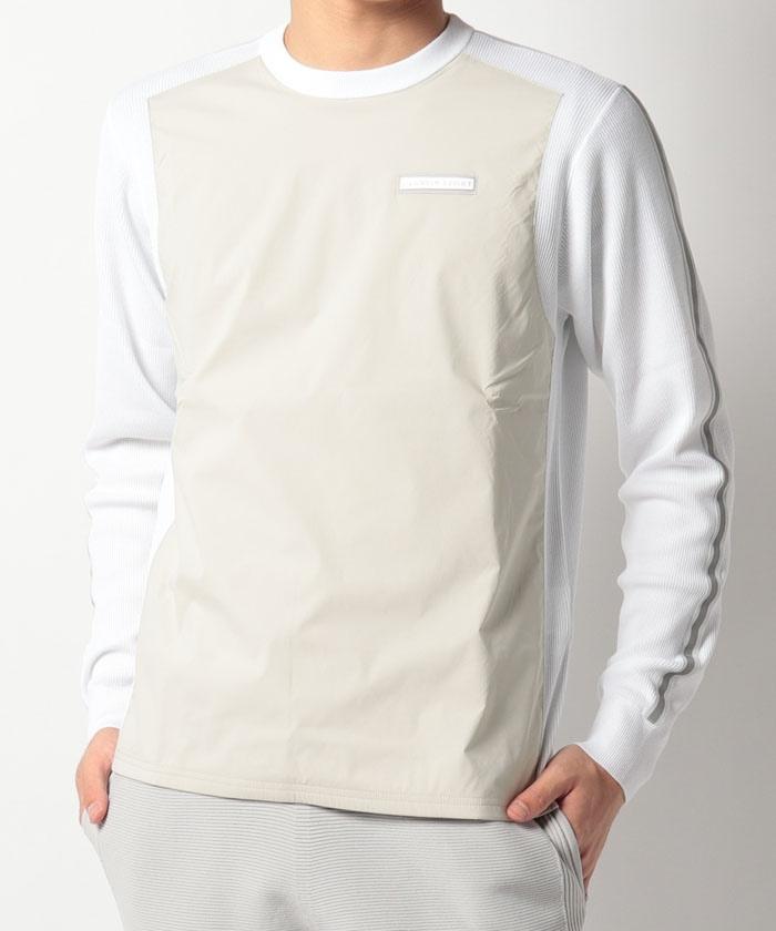 異素材コンビクルーネックセーター