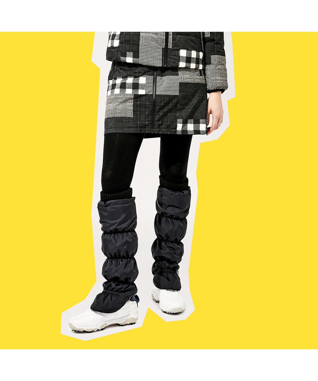 【セットアップ対応商品】チェックプリントリバーシブル中綿スカート(42cm丈)