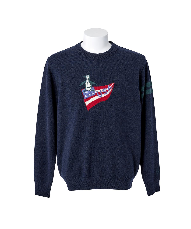ラムウール USAペンギンインターシャセーター