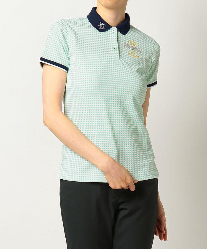 【サンスクリーン】【吸汗速乾】【UPF50】サッカーギンガムチェックジャカード半袖シャツ