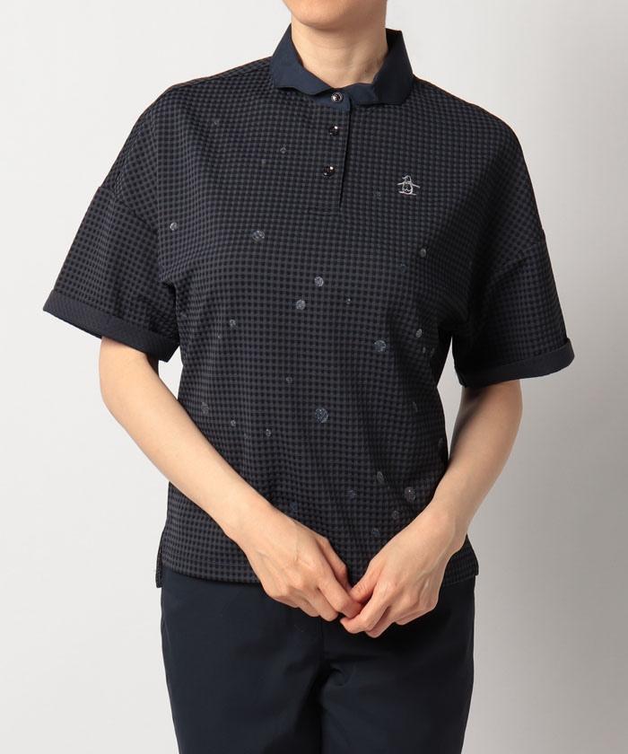 【サンスクリーン】【吸汗速乾】【UPF50】サッカージャカードスプラッシュラメプリント半袖シャツ