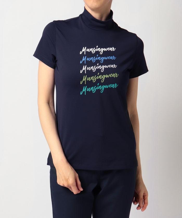 【サンスクリーン】【吸汗速乾】マルチロゴプリントハイネック半袖シャツ