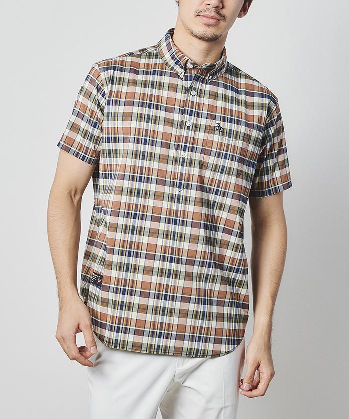 オーガニックコットンストレッチマドラスチェック半袖シャツ