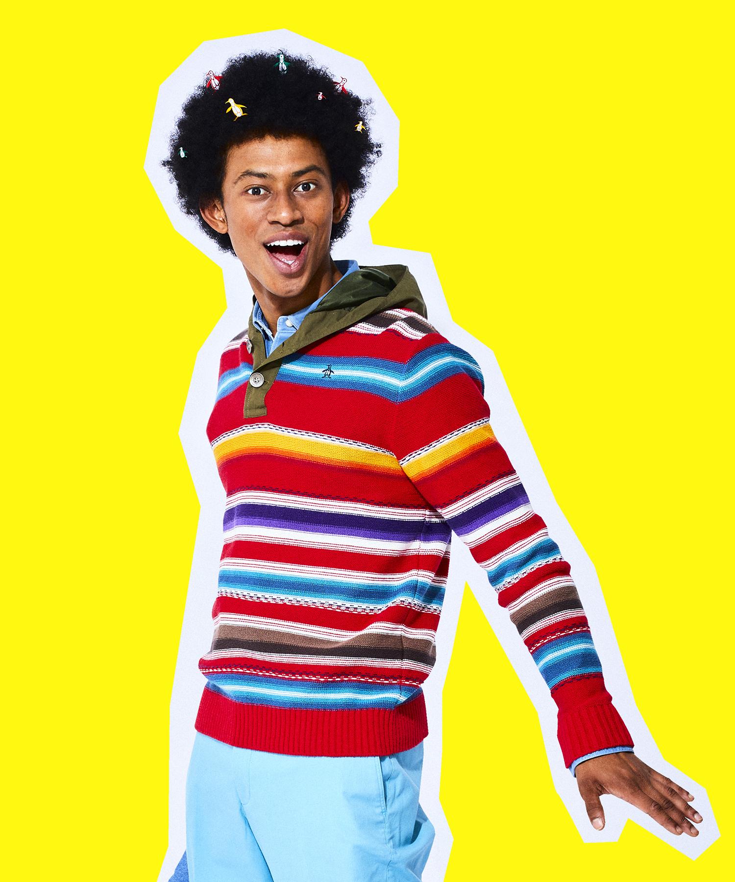 ネイティブパターンフーデッドセーター