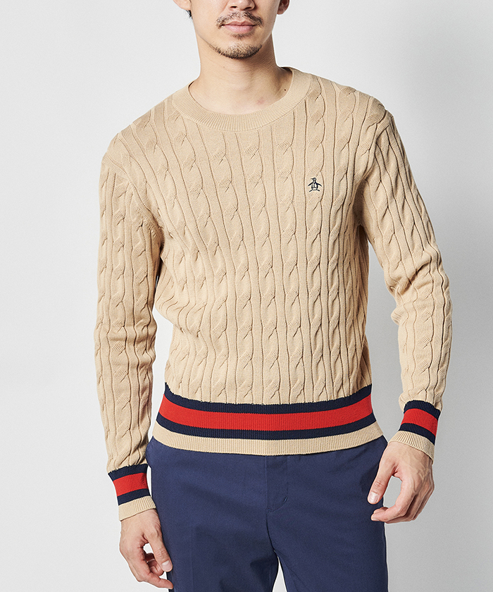 ケーブル編みクルーネックセーター