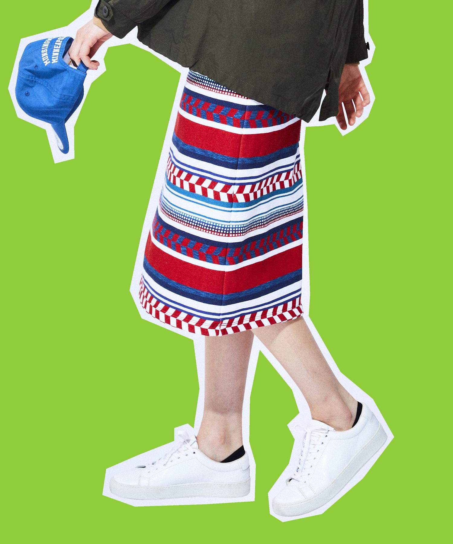 ネイティブパターンプリントスカート(69cm丈)