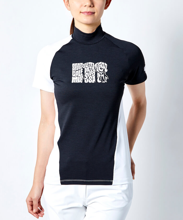 【ENVOY/Ximena Jimenezコラボ】レタリングmロゴモックネック半袖シャツ【サンスクリーン/ファンデクリー