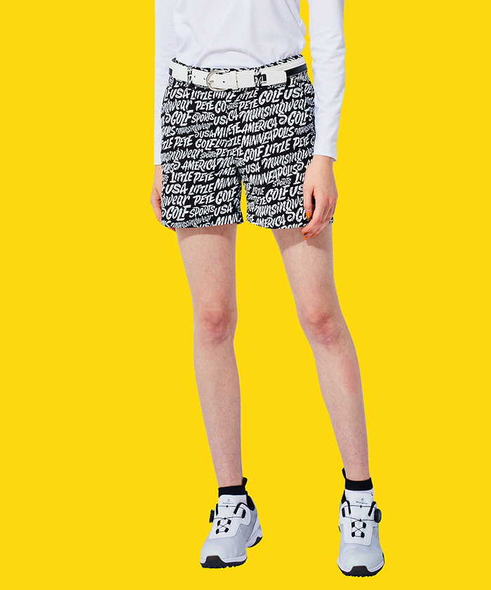 【ENVOY/Ximena Jimenezコラボ】レタリングプリントショートパンツ(股下13cm)【吸汗速乾/ストレッチ】