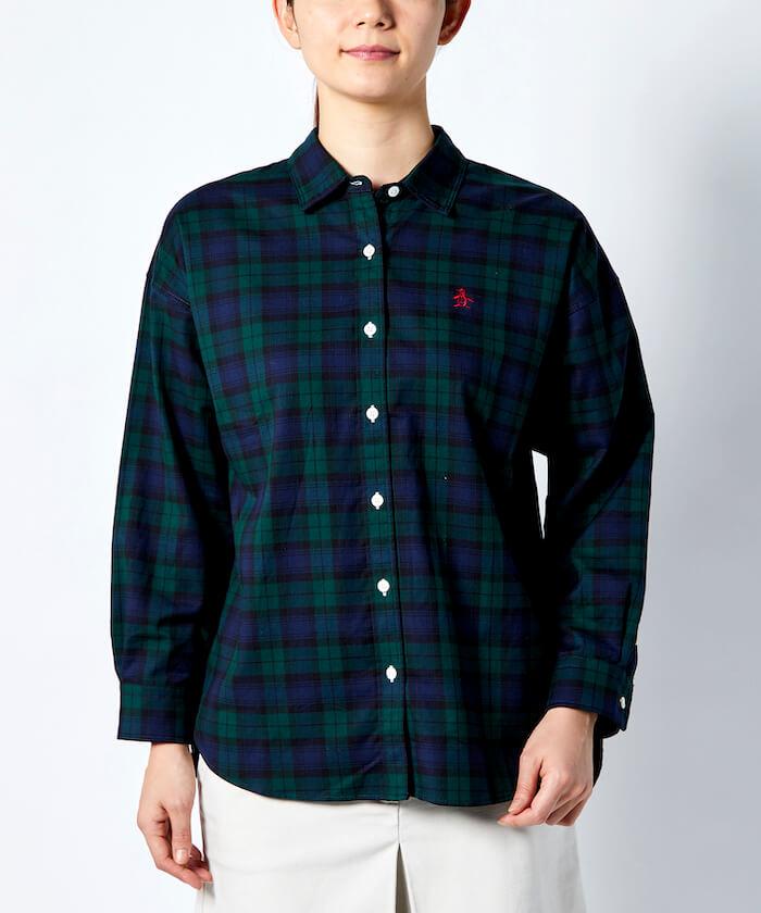 【ECO】オーガニックコットンタータンチェック布帛オーバーサイズシャツ