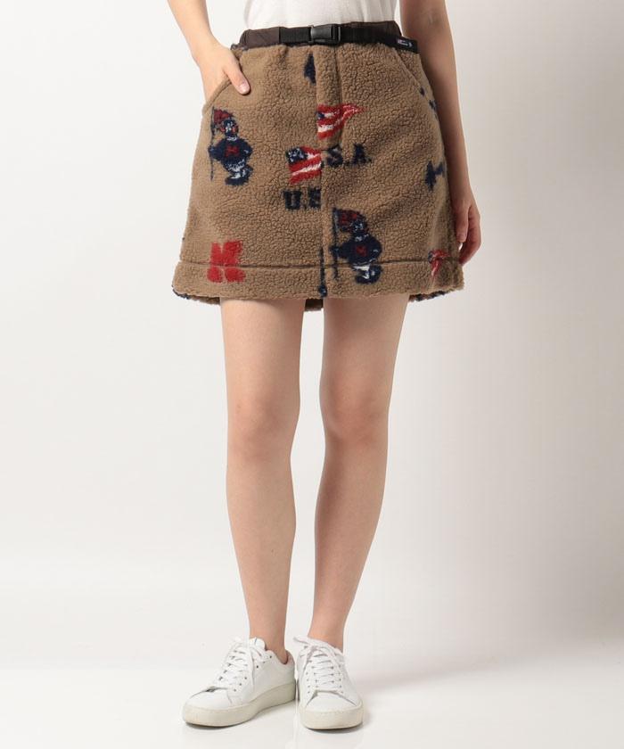 【ECO】Earth Pete総柄ボアジャガードスカート(42cm丈)