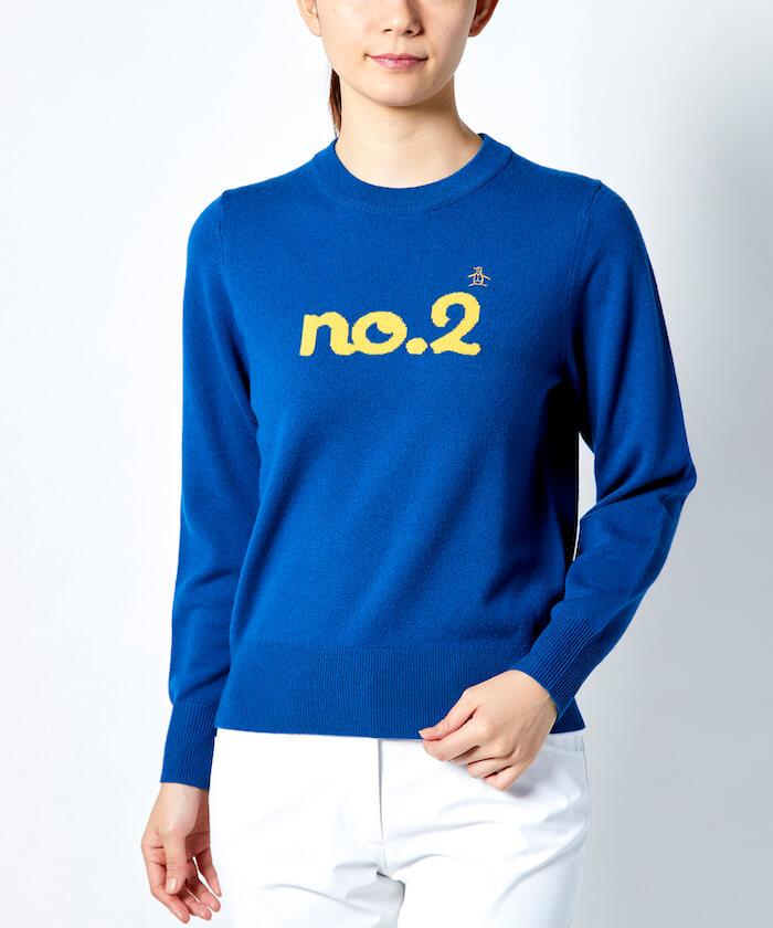 クルーネックメッセージセーター