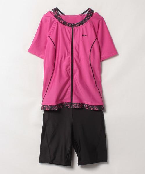 <SWIM>肩紐柄切替半袖フルジップタンキニ(大きいサイズ) (3482030)