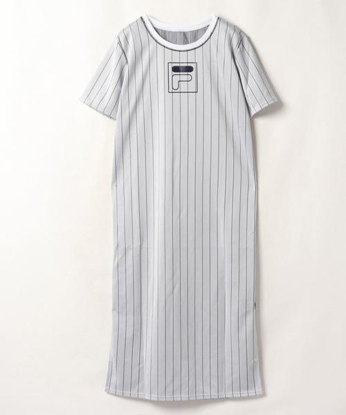 【フィラ】ストライプロング丈Tシャツ
