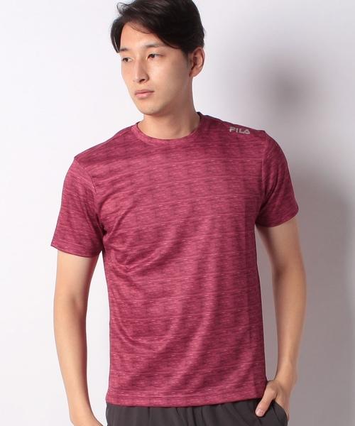 【FILA】ジャガード異素材切替半袖Tシャツ