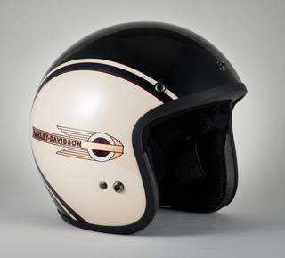 クラシックレトロタンク3/4ヘルメット(ブラック×ホワイト)
