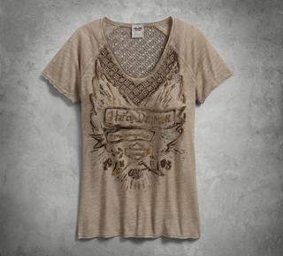 クロッシェレースアクセントTシャツ
