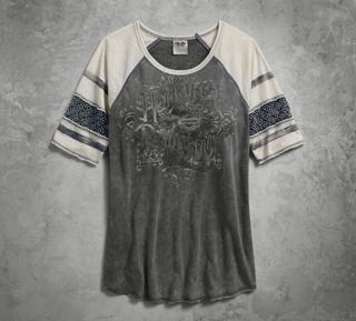 クロッシェレースTシャツ・グレー
