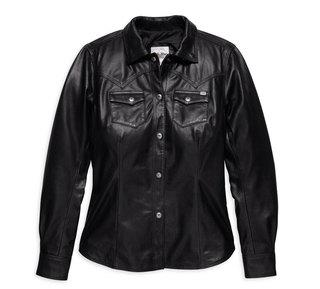 メルローズレザーシャツジャケット・ブラック