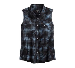 プレイドスリーブレスシャツ
