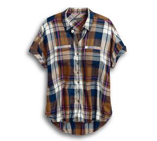 レーヨンプレイドシャツ