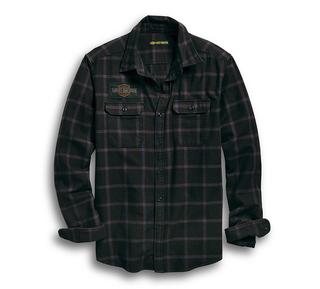 高密度スリムフィットプレイドシャツ