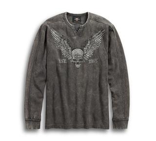 ウィングスカル ワッフルニットシャツ