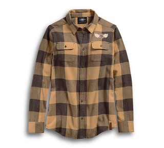 ウィング付きH-D プレイドシャツ