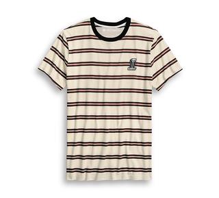 #1スカル・ストライプTシャツ【スリムフィット】