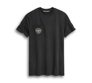 スカル・フラグ・ポケットTシャツ【スリムフィット】
