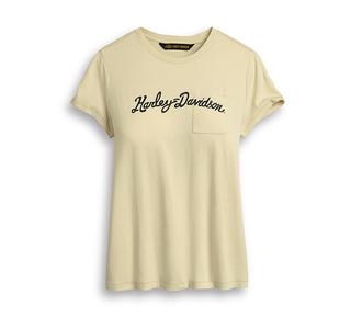 プリント・スクリプト・ポケットTシャツ【Women's】