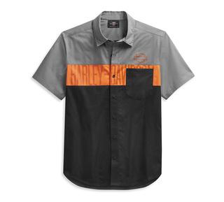 カラーブロック・ポケット付きロゴ・シャツ【Men's】