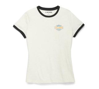 レーサーフォント・リンガーグラフィックTシャツ【Women's】
