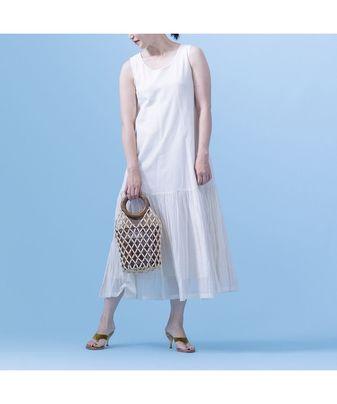 コットンシルクプリーツキャミドレス