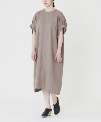 フレンチリネンボリュームスリーブドレス
