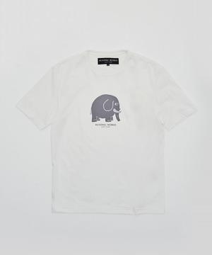 [アニマルプリントTシャツ<ゾウ>]ホワイト6206640200メンズ&ウィメンズ