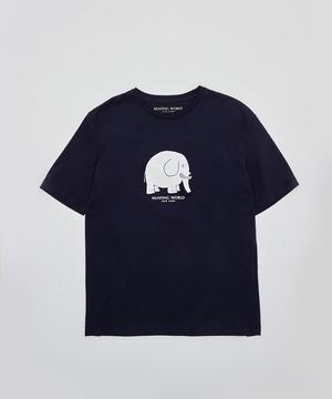 [アニマルプリントTシャツ<ゾウ>]ネイビー 6204660278メンズ&ウィメンズ