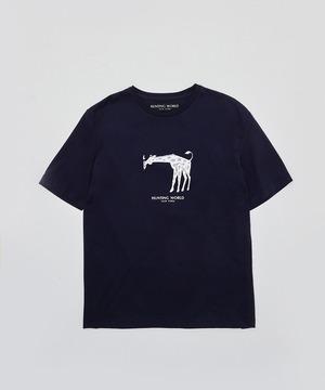 [アニマルプリントTシャツ<キリン>]ネイビー 6204660378メンズ&ウィメンズ